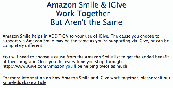 Amazon Smile and iGive